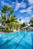 The swimming pool area of the Hyatt Dorado resort near San Juan, Puerto Rico.