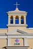 The bell tower of the San Antonio de Padua Catholic Church in Dorado, near San Juan, Puerto Rico, West Indies.