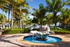 A decorative shell water fountain in the tropical garden at the Hyatt Dorado resort near San Juan, Puerto Rico.