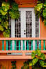 A balcony and door at the Lazy Parrot hotel in Rincon, Puerto Rico.