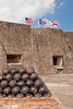 Interior of the San Cristobal Castle with cannon ball ammunition in San Juan, Puerto Rico, West Indies.