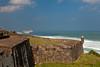 The walls of the San Cristobal Castle overlooking the Caribbean Sea in San Juan, Puerto Rico, West Indies.
