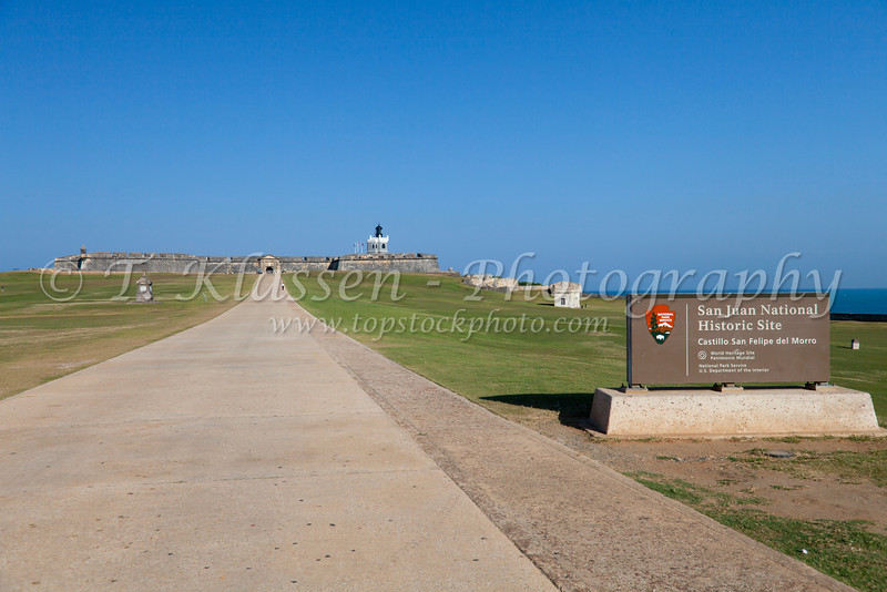 Entrance road to the San Felipe del Morro Castle in San Juan, Puerto, Rico, West Indies.