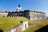 The moat and walls of the San Felipe del Morro Castle in San Juan, Puerto Rico, West Indies.