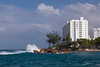The conrad Hotel and beach surf insan Juan, Puerto Rico, West Indies.