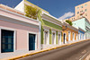 Streets with spanish colonial architecture in San Juan, Puerto Rico, West Indies.