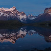 A view from the boardwalk at the Hosteria Pehoe across to the Torres del Paine massif, 4:59am.