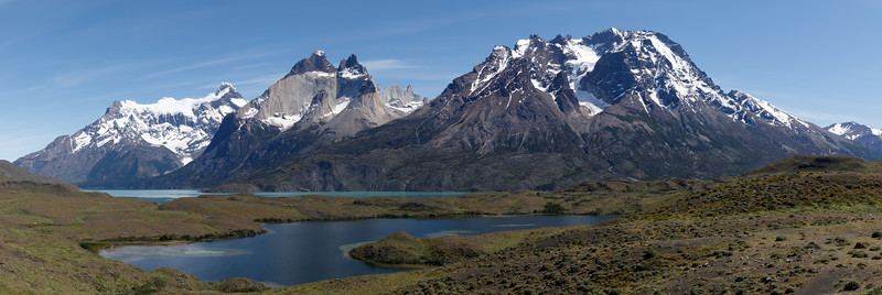 Laguna Javier Esteban in the foreground and Lago Nordenskjold in the distance looking towards Paine Grande, the Cuernos del Paine and Almirante Nieto mountain.