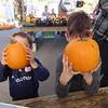Pumpkin heads, anyone? Camden Keplinger, 4, and Aidan Keplinger, 6, both of Billerica hide their faces. -- photo by Mary Leach