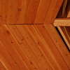 Bad wood work in peak of outdoor room