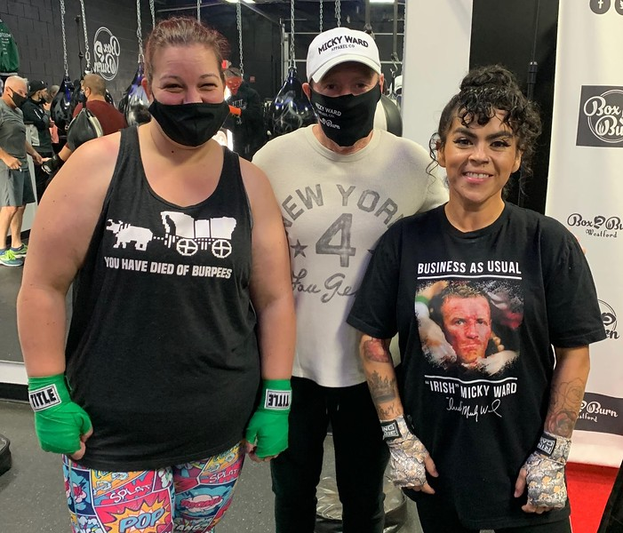 Kim Desmarias, left, and Leslie Serrano, both of Tyngsboro, with legendary boxer Irish Micky Ward