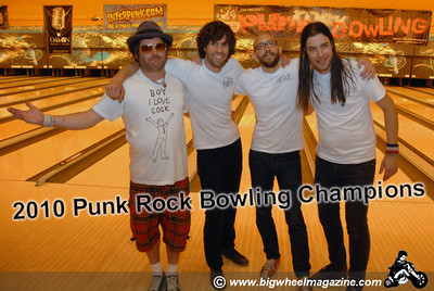 Winners of the 2010 Punk Rock Bowling Tournament  The Pin Ladens, headed up by Fat Mike of NOFX