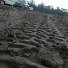 a tire track deep in the mud.....it was crazy