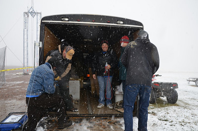 Thank Goodness for Lloyd and Shirley's trailer, they have a heater in the back so we can all get in there and warm up