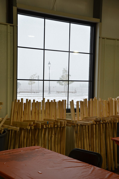A view from the scarecrow building area inside, looking out at the cold and snow :)