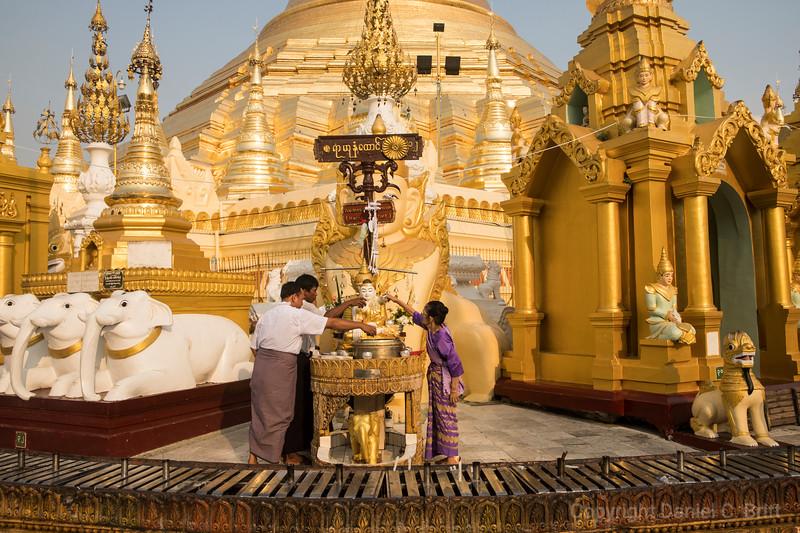 Myanmar Devotees Wash Buddha