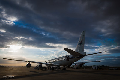 NASA's DC-8 research aircraft parked on the ramp for a ground test of our laser system.