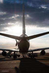 NASA's DC-8 research aircraft before a short instrument test flight.