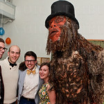Michael Hill, Nick Covault, Elias Gross and Mollie Harris with Sasquatch.