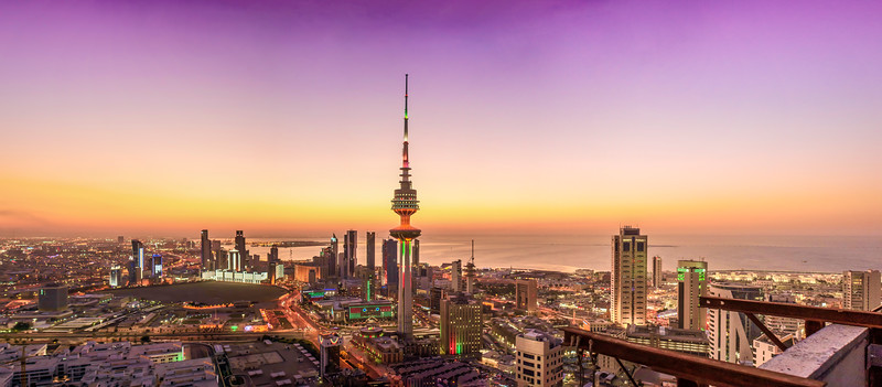 Kuwait Liberation tower - sunset view