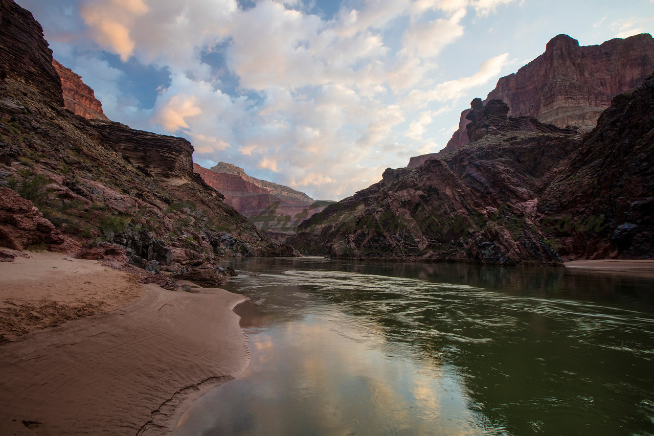 Sunrise Upriver near Lava Falls, Grand Canyon