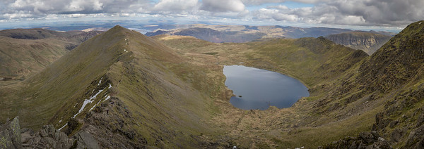 Mountain Bikers and Walkers on Swirral Edge and Striding Edge