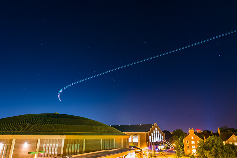 Nothing says night flights with clear skies and stars above to acompany you. @PurdueAviation was doing some flying around campus last night and this one in particular flying over Mackey Arena, Lambert and Cary Quad.    D5200 / 16mm / ISO 100 / f2.8 / 30sec   #Nikon #Tokina #Purdue #PurdueAviation #Aviation #MackeyArena #CaryQuad #LongExposure #Astrophotography #HoosierGrammers