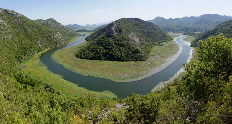 River bend into lake Skadarsko, Montenegro