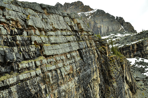 Rock layers above Lake O'Hara, Yoho NP, British Columbia, Canada