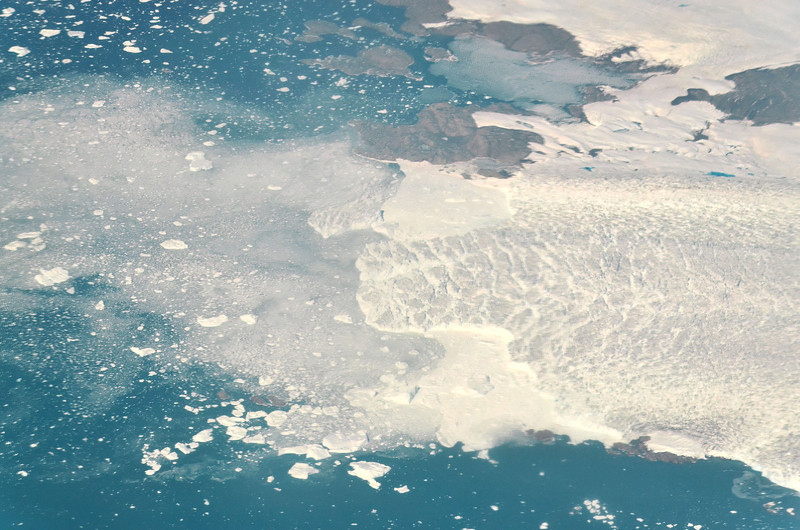 Glacier front producing icebergs, West Greenland coast south of Upernavik, June