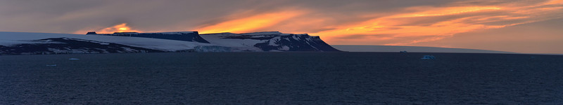 24:00 or 00:00 - Midnight: Looking north to Greely and Kane islands and ice dome of Becker Island