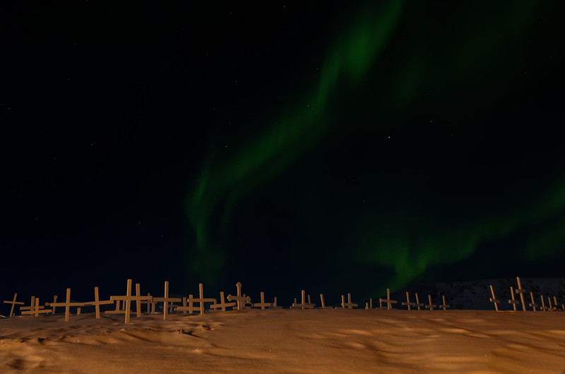 Aurora over the grave yard of Ittoqqortoormiit