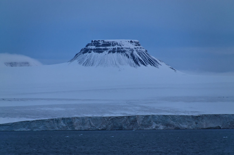 Peak Parnass (620 m) on Wiener Neustadt Island, highest peak of Franz Josef Land