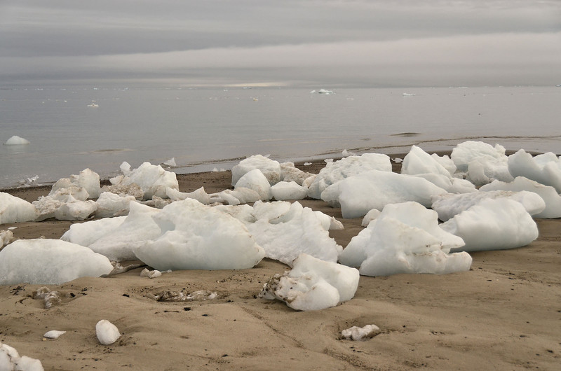 Stranded ice pieces at Cape Triest beach, Champ Island