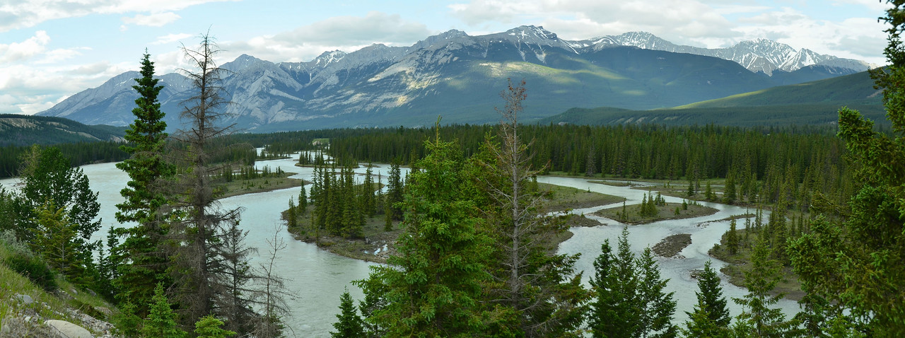 Colin Range and Athabasca River, Alberta, Canada