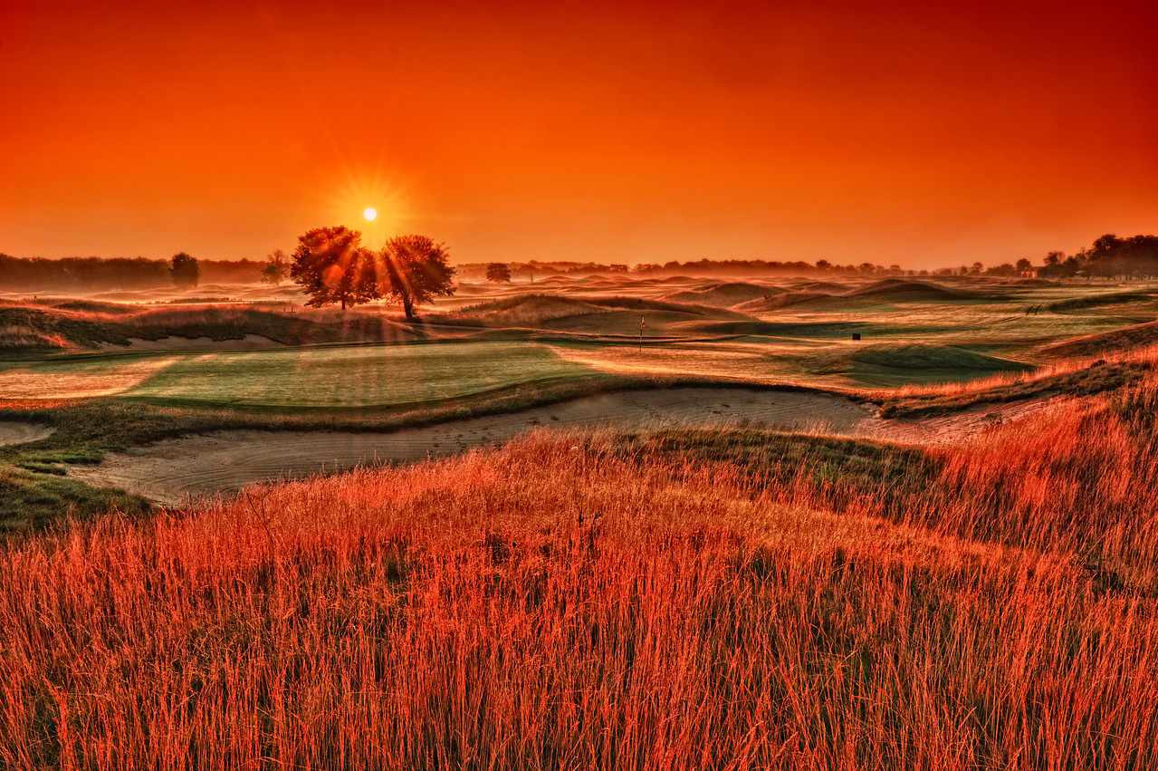 Still my favorite image of Purgatory Golf Club, the 16th hole just after sunrise.