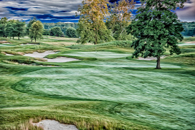 The approach into the 10th green at Purgatory Golf Club.