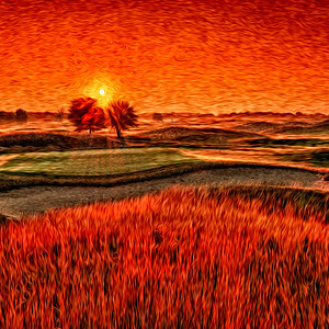 Sunrise over the 16th green, rendered in a Van Gogh style.