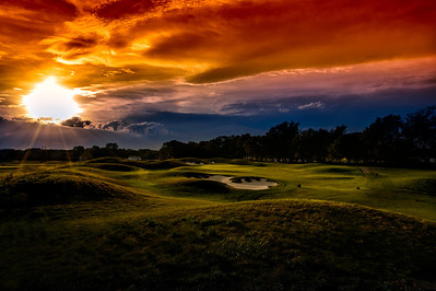 Your sunset view from the mounds overlooking the fourth green at Purgatory Golf Club
