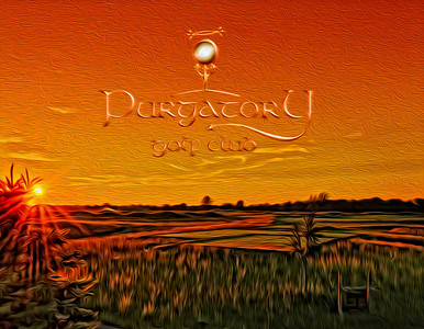 Sunset over the first tee at Purgatory Golf Club, rendered in a painterly fashion.