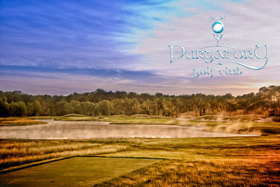 The second hole just after daybreak, steam rising from the lake.