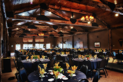 The banquet hall at Purgatory Golf Club all dressed up for a fashion show.