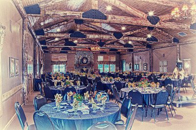 The banquet hall at Purgatory Golf Club dressed up for a formal luncheon and rendered in an illustrated fashion.