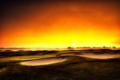 Sunrise over the 18th green.
