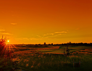 Sunset over the 1st tee.