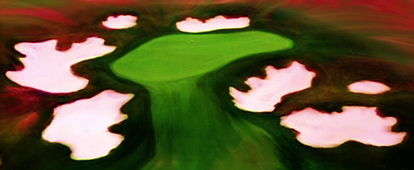Aerial view of the 14th green at Purgatory Golf Club, oil painted in Corel Painter 12.