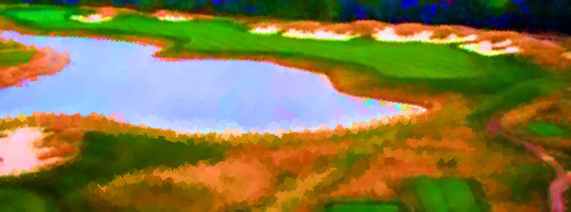 Aerial view of the 2nd hole at Purgatory Golf Club painted with dense sponges in Corel Painter 12.