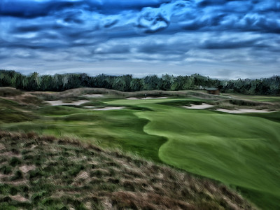 The 14th hole at Purgatory Golf Club. This was a photograph taken as an HDR image, which is numerous exposures combined with software to capture a broader tonal range than today's cameras are able to gather. I then hand painted it in Corel Painter 12 with various style brushes.