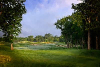 The 4th hole, hand painted with various sized dense sponge brushes. It has always been one of my favorite holes.