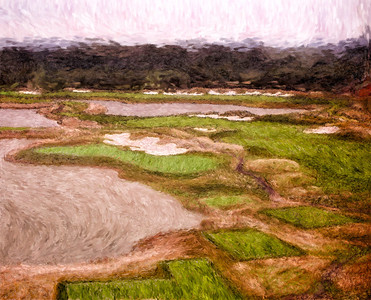 Hand painted aerial image of the seventh hole.